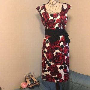 White House Black Market Red Floral Dress